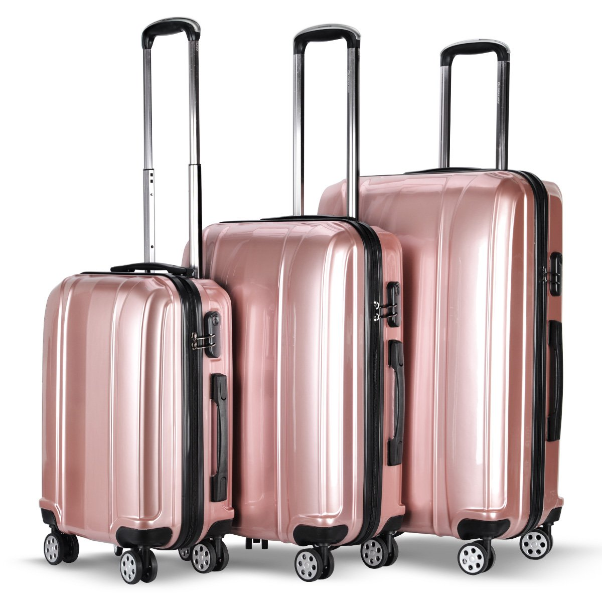 Goplus 3 Piece Luggage Set Hard Suitcases Carry On for Travel (Pink) by Goplus