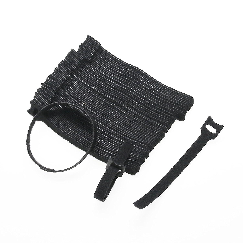 Fascette di fissaggio,100 x nero cinghia regolabile riutilizzabili fascette per Wrap Hook & Loop, mm x 6 in (12 mm x 150 mm) 100x nero cinghia regolabile riutilizzabili fascette per Wrap Hook & Loop mm x 6in (12mm x 150mm)