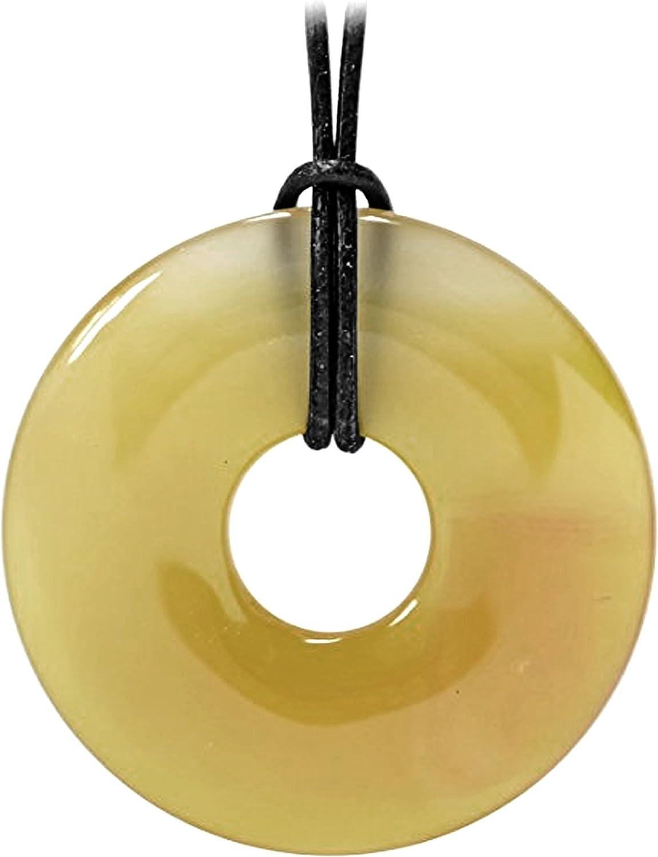 Kaltner Präsente–Regalo Idea–Piel Cadena para Hombre y Mujer con Piedras Preciosas Colgante Ágata (50mm de diámetro)