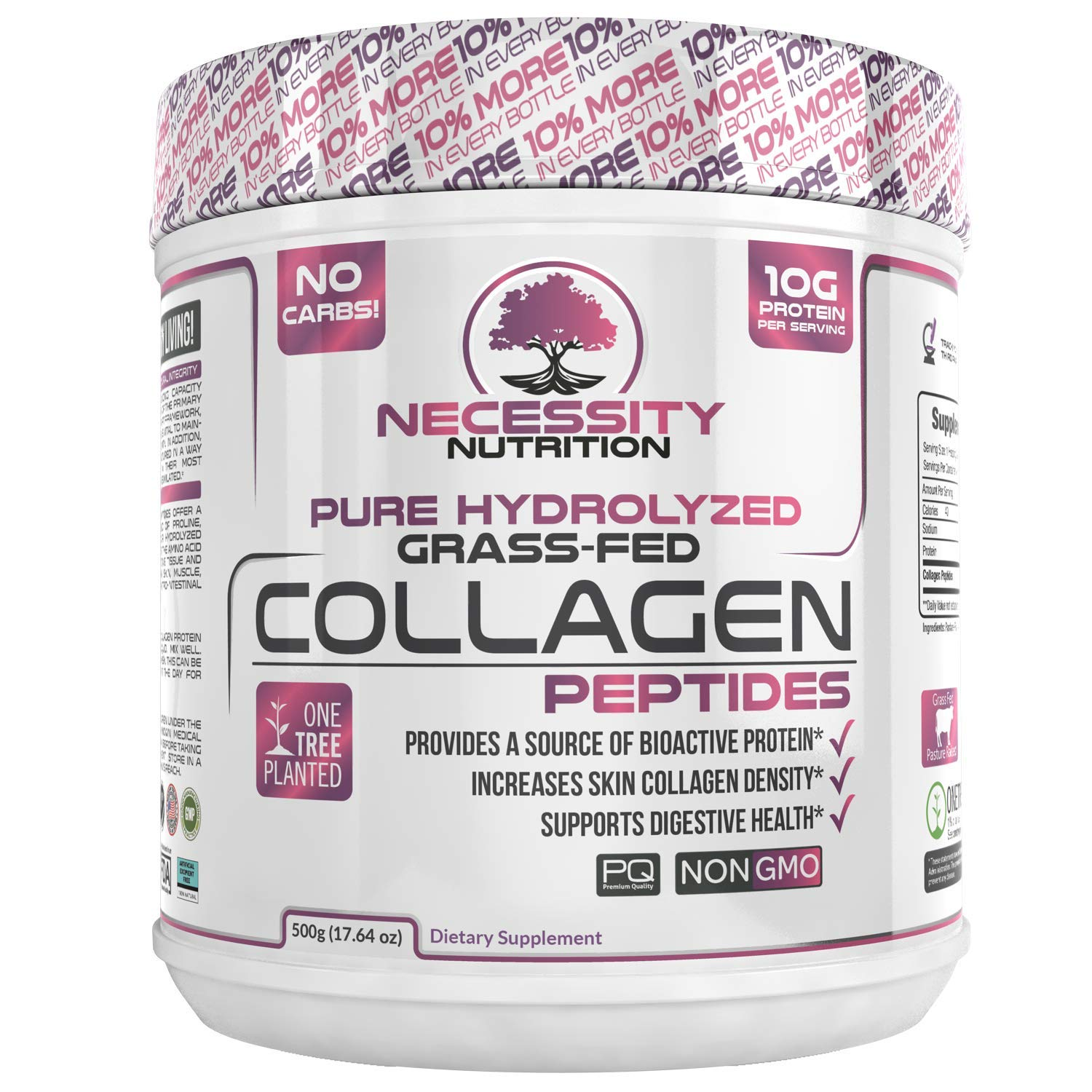 Collagen Peptides Powder Pure Hydrolyzed - Non GMO Grass Fed Pasture Raised Bovine Hide Premium Quality