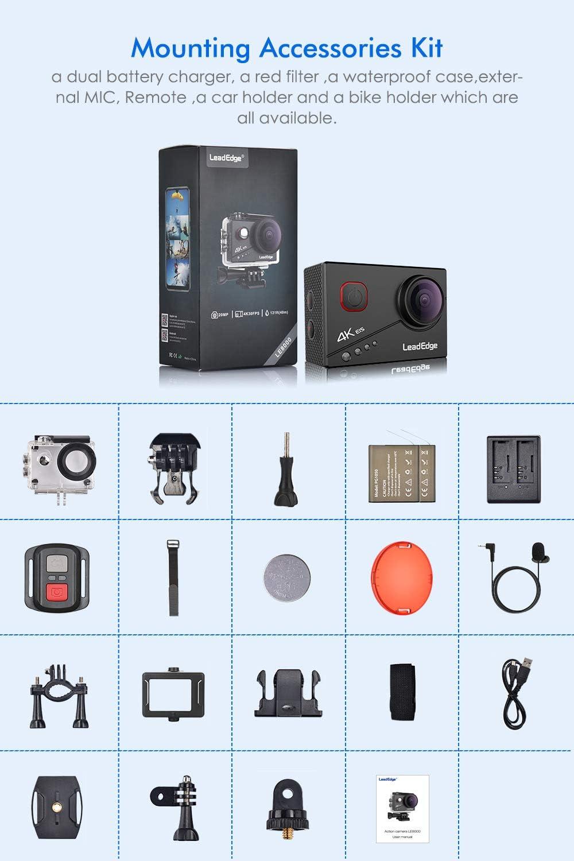 LeadEdge Cam/éra Sport 4K 20MP EIS stabilisateur Microphone Externe WiFi /Étanche Cam/éra daction 2.0 IPS Ecran avec 170 /° Grand-Angle sous-Marine 40M T/él/écommande 2/×1050mAh et Kits dAccessoire