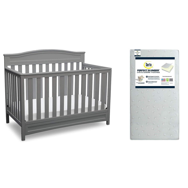 Delta Children Emery 4-in-1 Convertible Crib, Grey + Serta Perfect Slumber Dual Sided Recycled Fiber Core Crib and Toddler Mattress (Bundle)