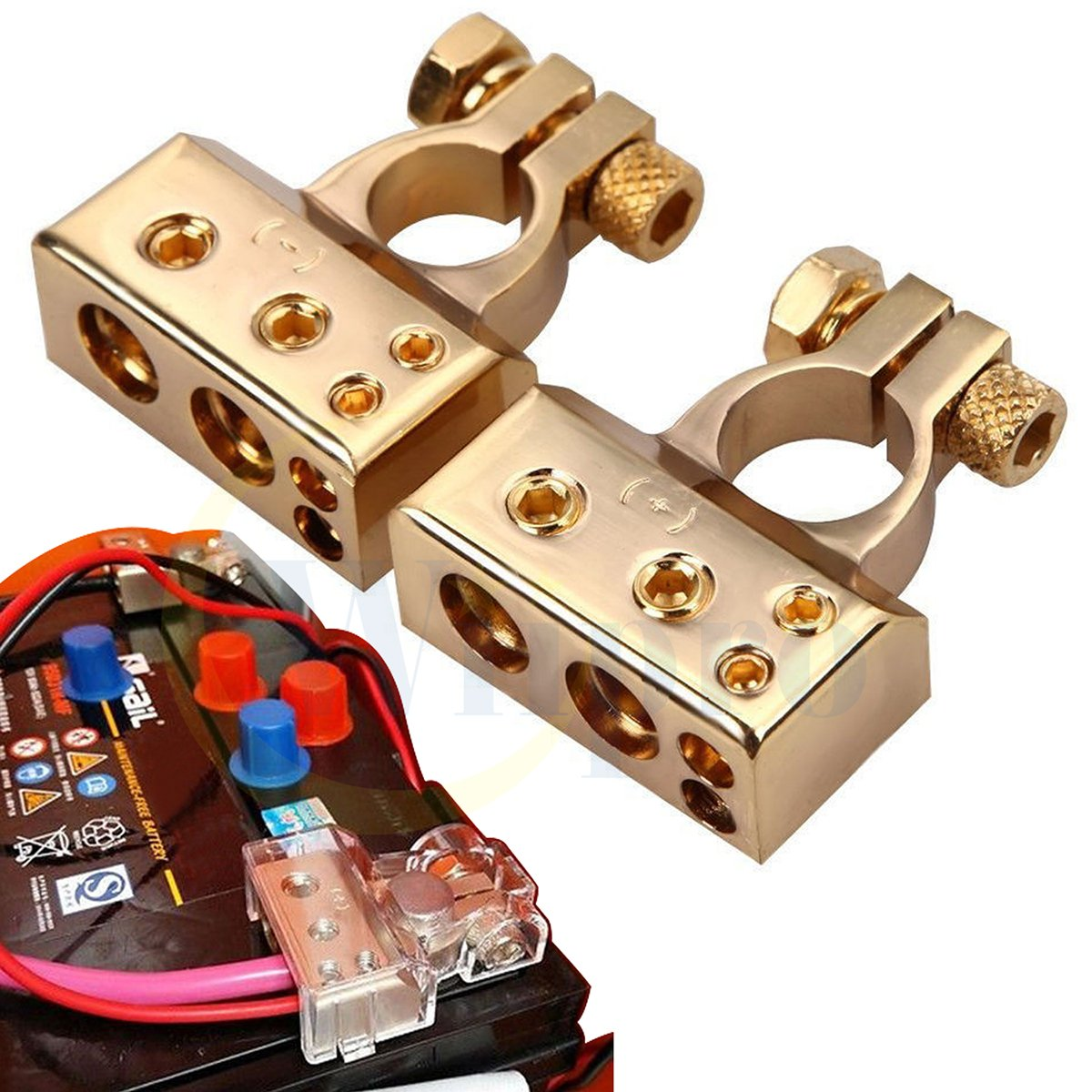 Wiipro 2PCS Positive Negative Battery Terminal for Auto Car 2/4/8 Gauge AWG Heavy Duty Metal Gold Plated