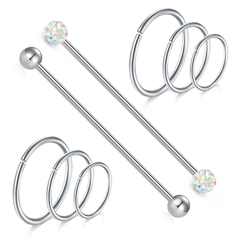 vcmart Industrial Barbell Cartilage Earrings Hoop Helix Tragus Daith Piercing Earring 14G Stainless Steel 1 1/2In(38mm) Silver