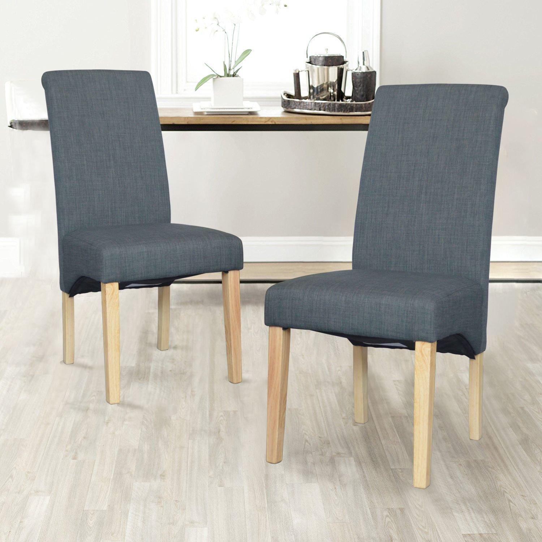 folkbury Set di 2Scroll Back–Sedia da sala da pranzo in pelle/Tessuto di qualità superiore con zampe in rovere massiccio effetto legno Beige/Eu Tissu FOLBURY