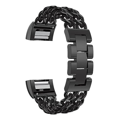 alta calidad de acero inoxidable sólidas bandas de reloj inteligentes correas con cadena de vaquero para Fitbit Charge 2 negro: Amazon.es: Relojes