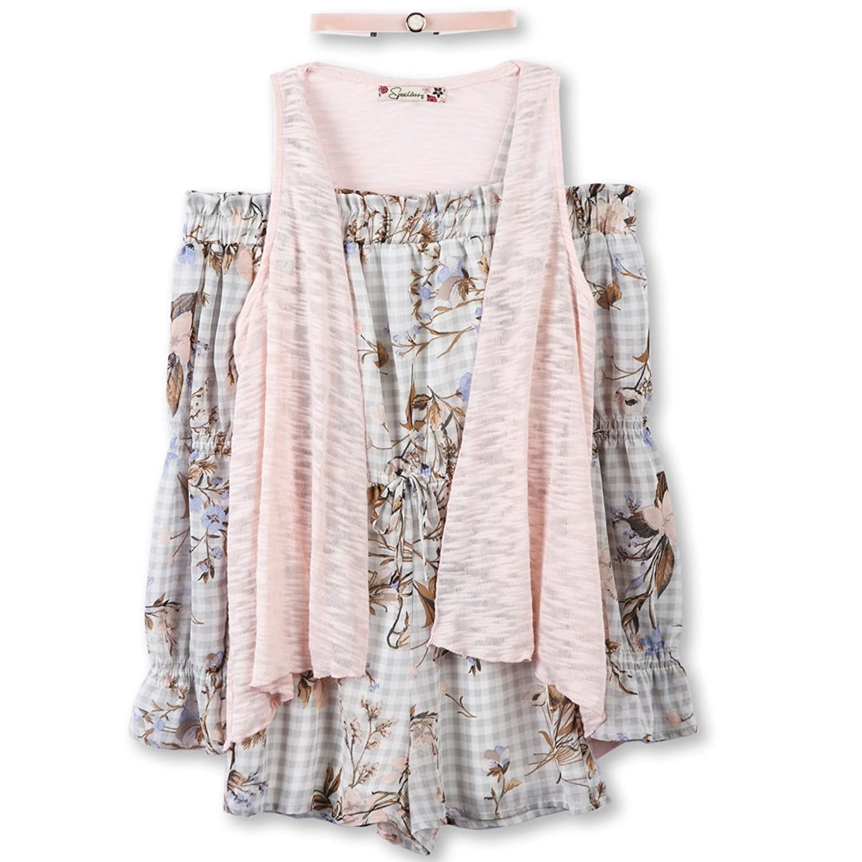 Speechless Girls Big 2 Piece Printed Chiffon Romper with Vest