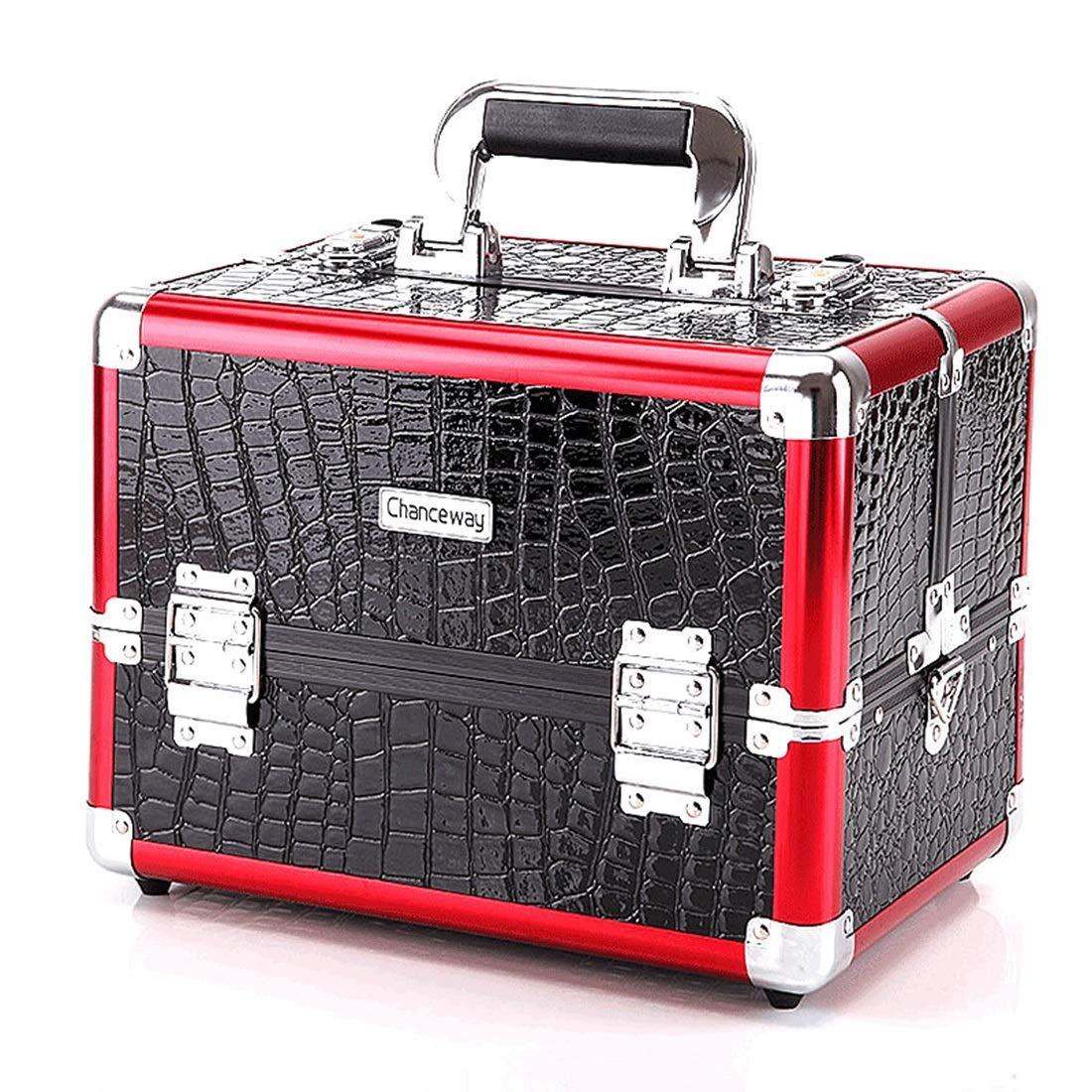 KERVINJESSIE Professional Aluminium Beauty Case Make Up Nail Cosmetic Box Vanity Organiser Crocodile Pattern (Color : Red, Size : M)