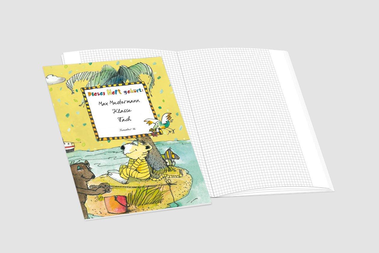 24 lustige JANOSCH-Schulhefte JANOSCH-Schulhefte JANOSCH-Schulhefte A4, »Auf der Trauminsel«,Lineatur 20, Ozeanblau, personalisierbar, 32 Seiten B076S1876S | Vielfältiges neues Design  c0e52a