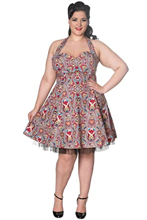 Banned Dynasty Plus Size Halterneck Dress - Grey/UK-18