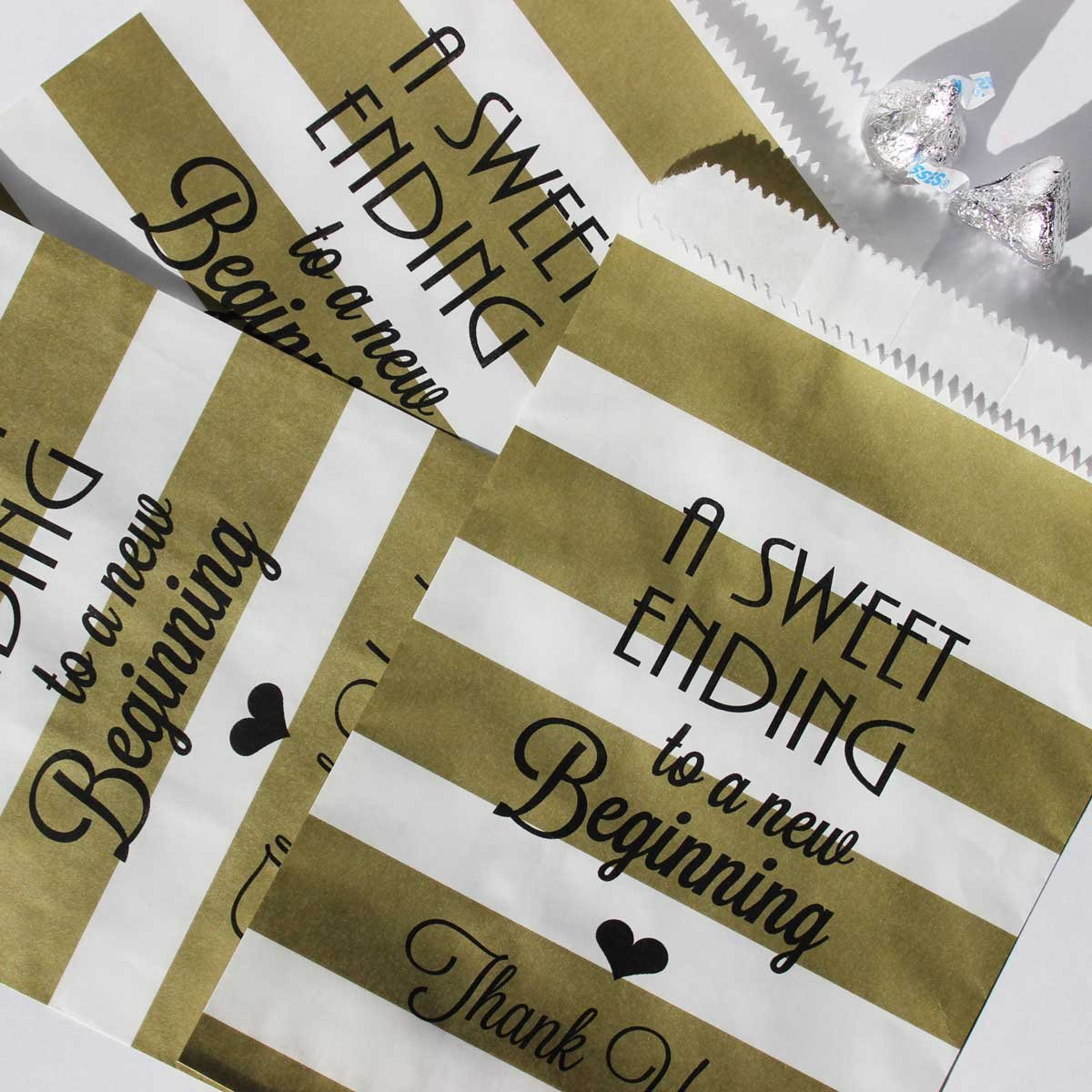 Set of 48 Bags and 48 Stickers A Sweet Ending to a New Beginning Gold and White Stripe Candy Bags Bakers Bling Wedding Party Favor Bags with Stickers 5.5 x 7.5