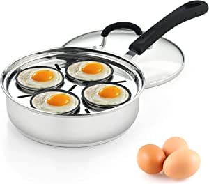 Cook N Home 02625 4 Cup Stainless Steel Egg Poacher Pan 8""