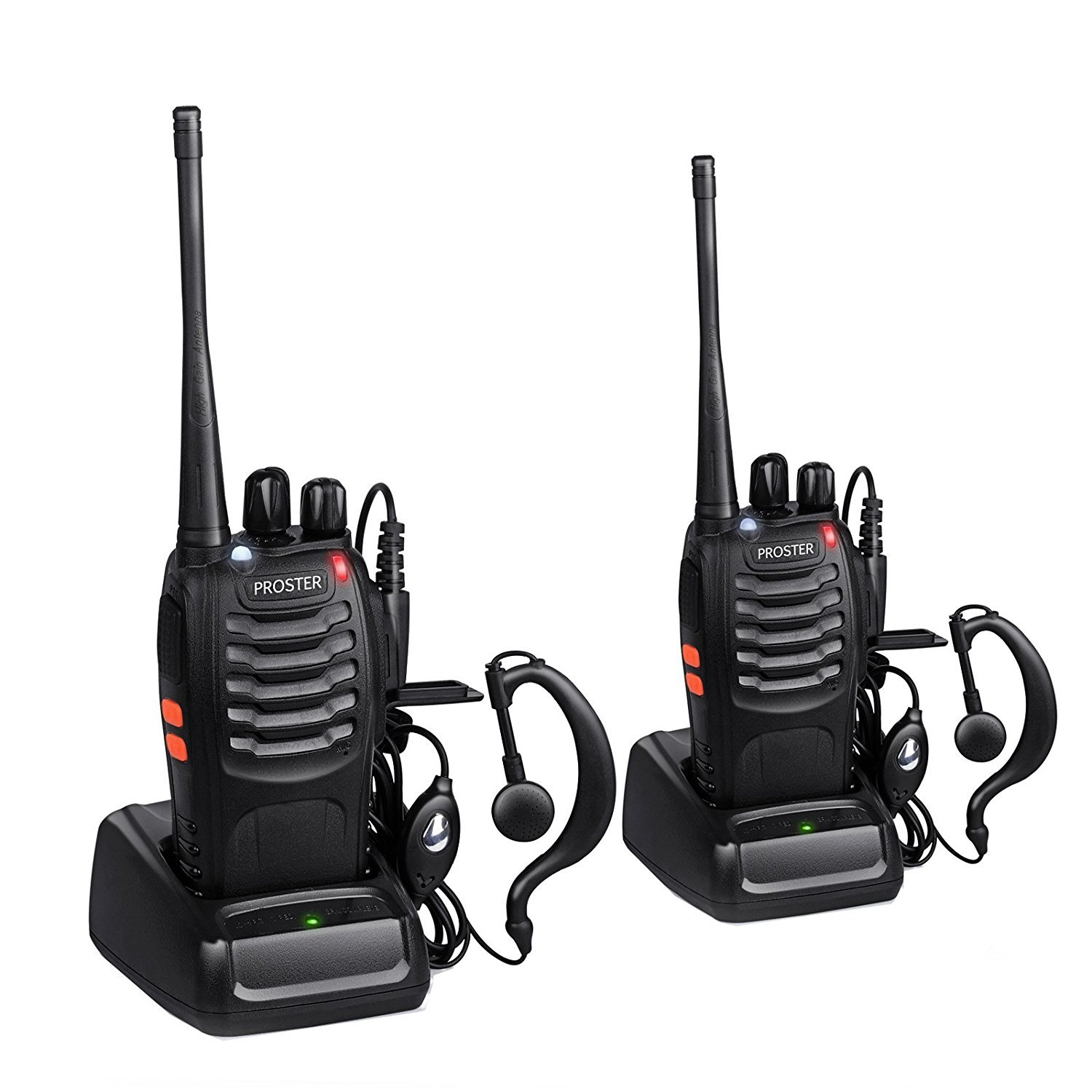 Proster Walkie Talkies Two Way Radio 16 Channel Rechargeable Walkie Talkie Ham Radio Tracsceiver UHF 400 to 470 MHz CTCSS DCS with Original Earpiece and USB Charger 4 Pair by Proster