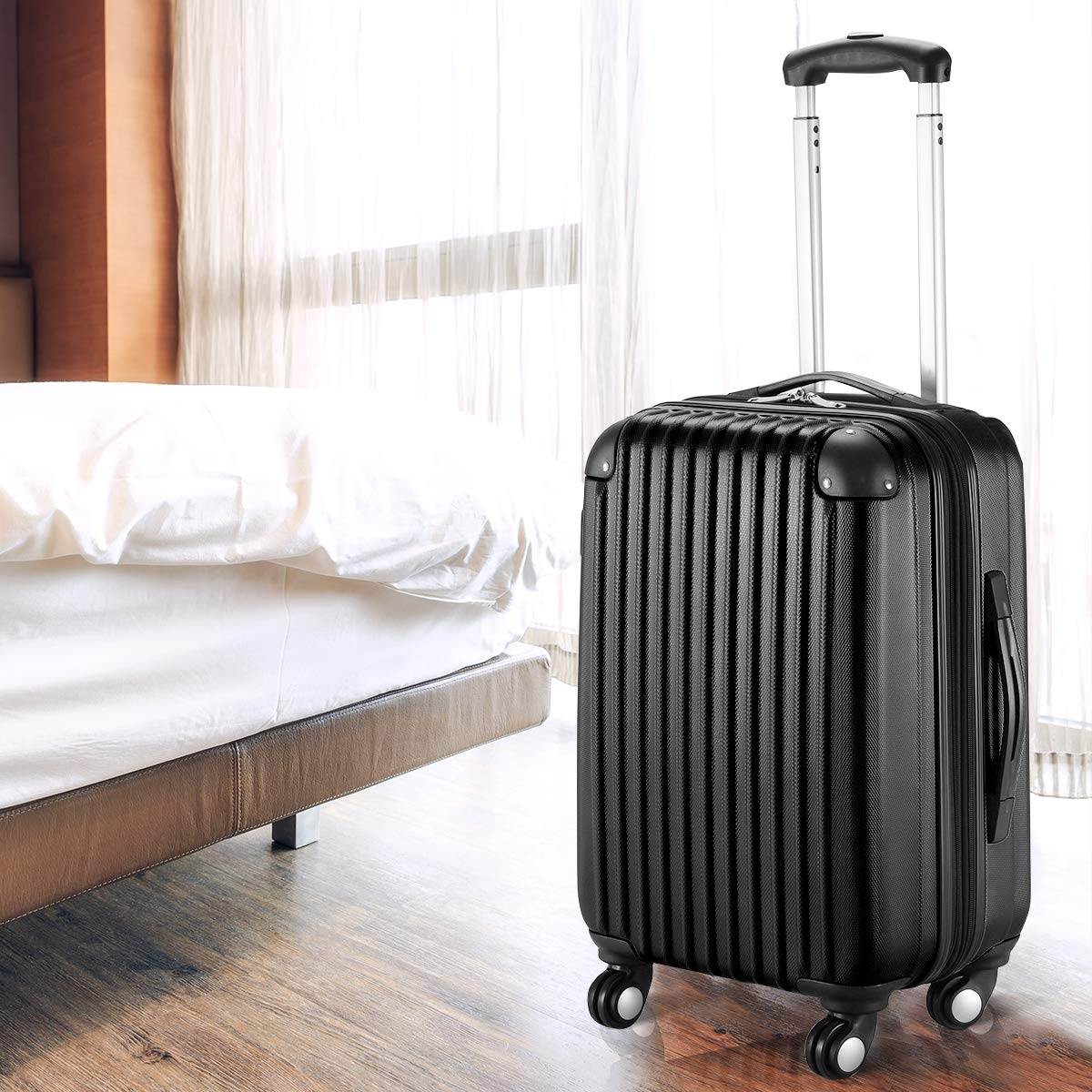 Goplus 20'' ABS Carry On Luggage Expandable Hardside Travel Bag Trolley Rolling Suitcase GLOBALWAY (Black) by Goplus (Image #5)