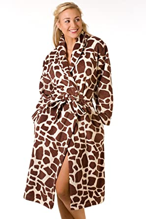 d6a03723ad Ladies Soft Giraffe Print Dressing Gown Womens Front Tie Robe Brown Size  10/12: Amazon.co.uk: Clothing