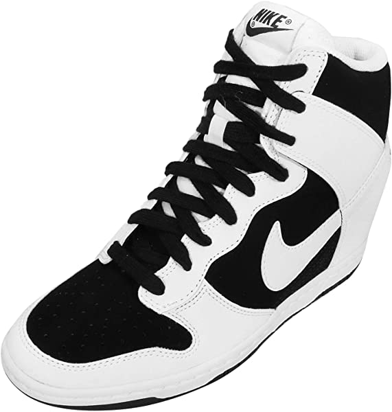 00a18048ffd7 NIKE WMNS Dunk Sky HI Essential Wedge Sneakers 644877-007 Black White-White.  Back. Double-tap to zoom
