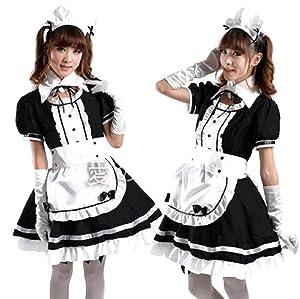 NEW! Japanese Girl Maid uniform Cosplay lolita Costume Dress XD (L, Black)