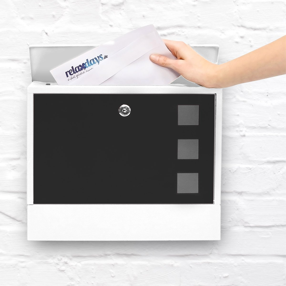 White-Black Relaxdays Modern Two Coloured Mailbox Letterbox Lockable with Two Keys and Newspaper Slot