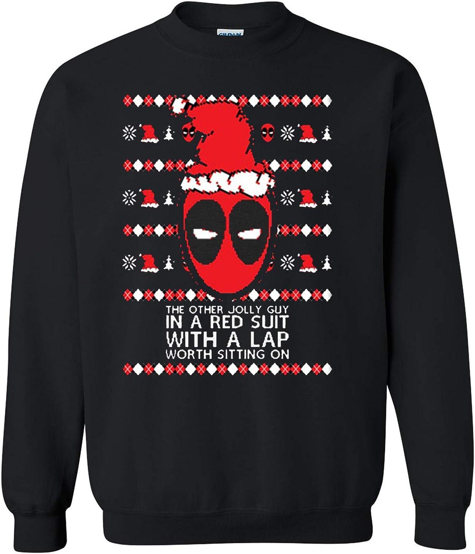 Christmas Deadpool Ugly Christmas Sweater Crewneck Sweatshirt Tee Heavyweight Crewneck Sweatshirt