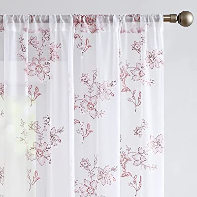 Buy Sheer Curtains For Living Room Embroidered Voile Window Curtains With Floral Design 84 Inch Bedroom Kitchen Vintage Rod Pocket 2 Panels Coral Pink Online In Turkey B07vvvddr9