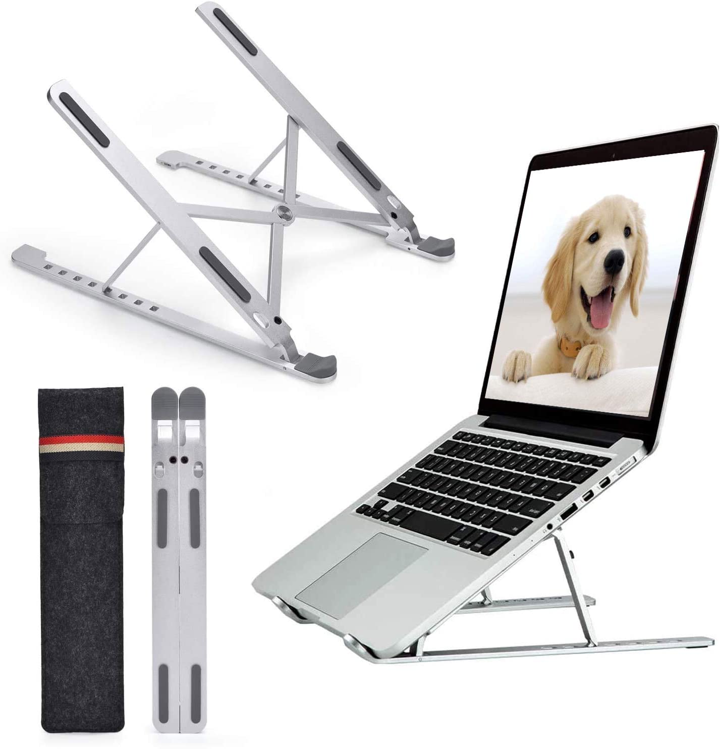 Adjustable Laptop Stand - 8 Levels Height Laptop Stand Universal Aluminum Alloy Portable Ventilated Cooling Stand for Desk Compatible with All Laptops (Up to 17 inch)- Silver