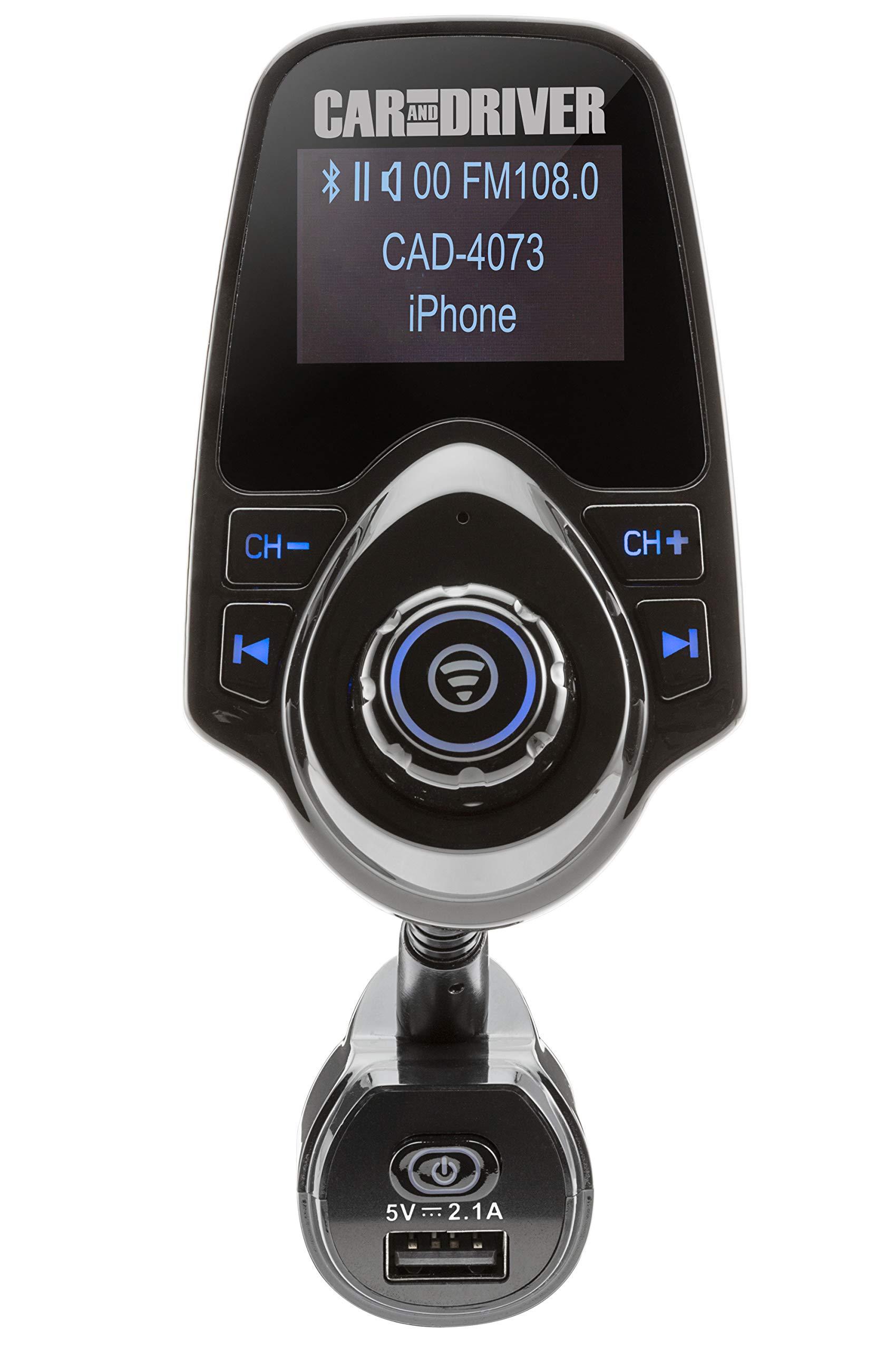 Car And Driver Wireless Bluetooth FM Transmitter Audio Adapter Wireless Receiver with AUX USB Input - Hands Free Phone Speaker Voltmeter, 1.44 Display, Goose-Neck Mount