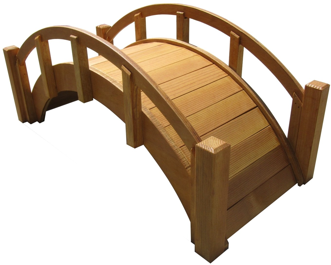 SamsGazebos Miniature Japanese Waterproofed Wood Garden Bridge, 25-Inch, Tan