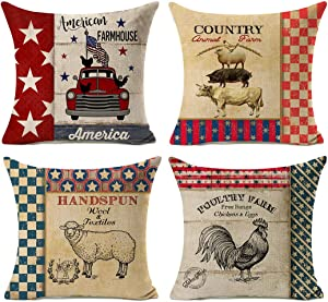 Kithomer Retro Farm Fresh Farmhouse Decorative Pillow Covers Rooster Patriotic American Throw Pillow Case 18 Inch Country Animal Cushion Cover Outdoor Décor Set of 4