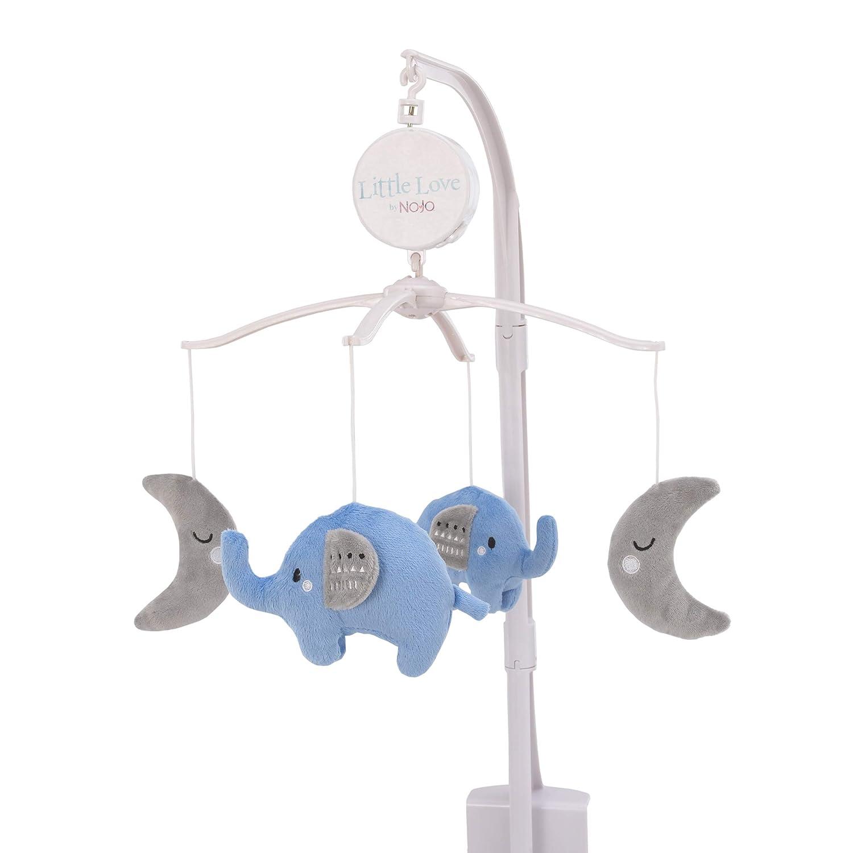 NoJo Shine On My Love - Boy Elephants & Moons Light Blue & Grey Musical Mobile, Navy, Light Blue, White
