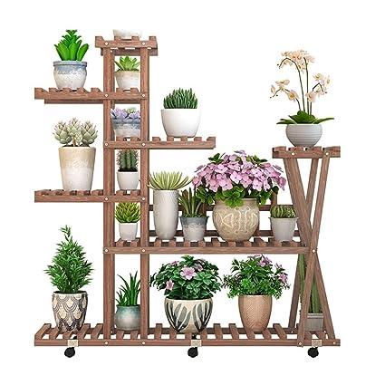 Asnvvbhz Soporte de plantas Soporte de plantas de madera Macetas ...