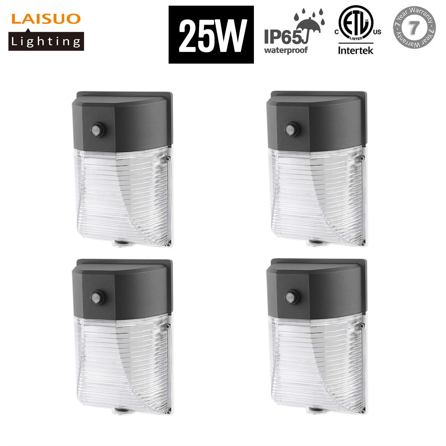LAISUO 25W LED Wall Pack Light Dusk-to-Dawn Photocell 2750lm 5000K Daylight White 100W Replacement Waterproof Outdoor Security Lighting for Walkways, Garden, Yard, Isolated Power, ETL Listed, 4 Pack