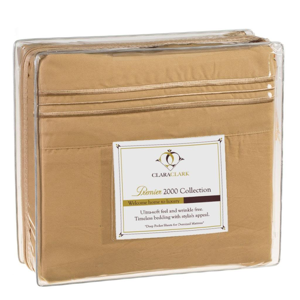 Luxury Bed Sheet Set – Soft MICRO SILK Sheets – King Size, Camel Yellow Gold – with Pure Natural ALOE VERA Skin Soothing Moisturizing Treatment – Healthy Calming Properties Will Make You Have A Relaxed and Refreshed Sleep – Highest Quality with Strong Stitching Will Make Your Sheet Set Last For Many Years – Get the Luxurious Look and Silky Feel No Other Sheet Set can Offer – Clara Clark