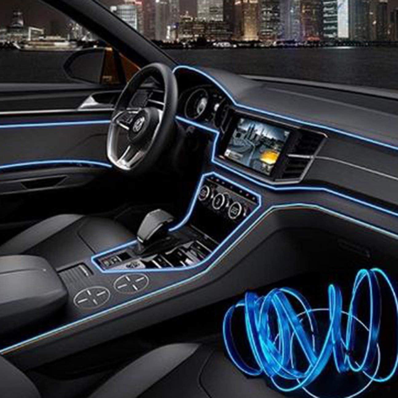 Jasnyfall Ice blue 3M Car Interior Light Strip 12V LED Cold lights Flexible Neon EL Wire Auto Lights Strip Line Interior Decoration Strips Lamp