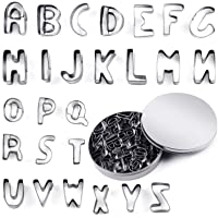 JYDirect 26 Pieces Mini Alphabet Cookie Cutters Set Stainless Steel Small Mold Tools for Fondant Biscuit, Cake, Fruit…