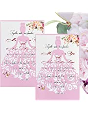 50PCS Paper Laser Cut Bronzing Wedding Baby Shower Invitation Cards with Flower Hollow Favors Invitation Cardstock for Engagement Birthday Graduation