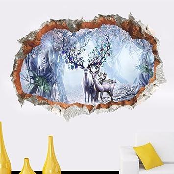 Llxln 3D Wald Dschungel Sika Deer Broken Wall Sticker Für Schlafzimmer  Wohnzimmer Design Home Dekorative