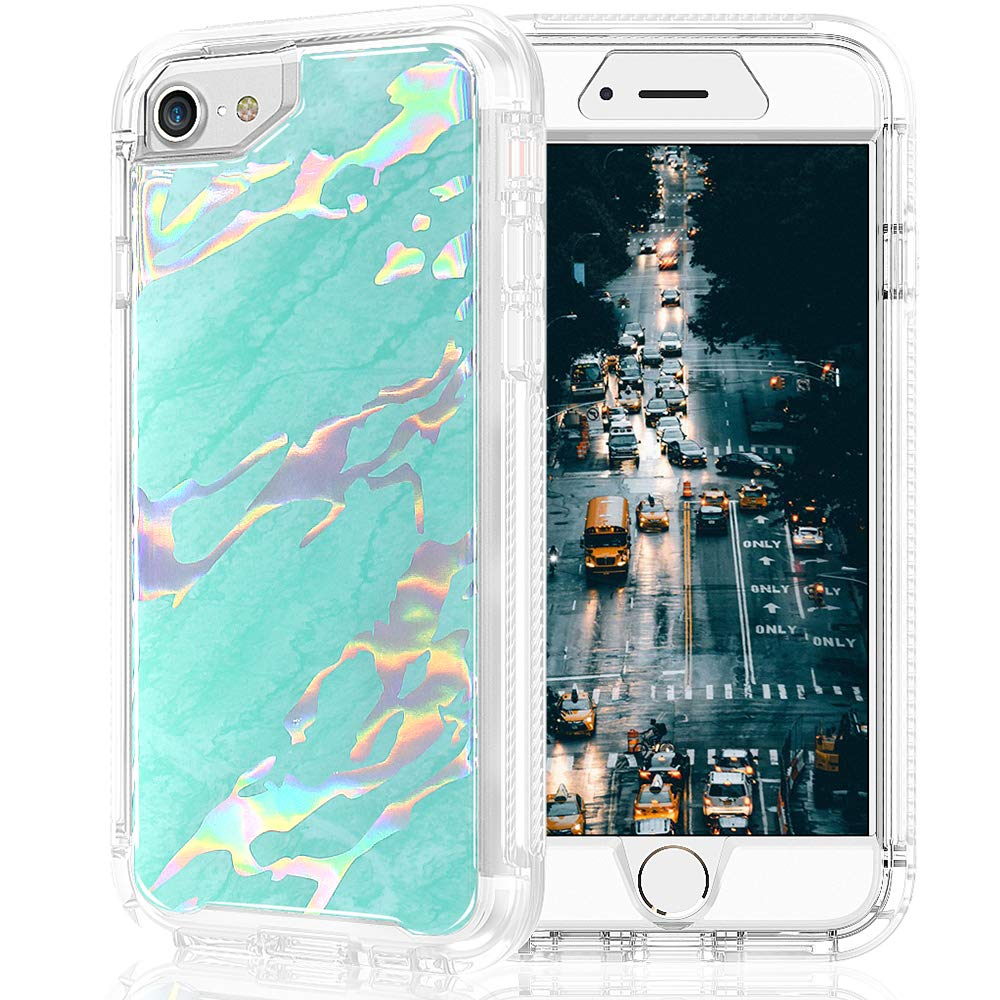 iPhone 6/6S Case, iPhone 7 Case, iPhone 8 Case, SEYMAC Shiny Marble Design Shock-Absorption, Anti-Scratch Bumper Cover for iPhone 6/iPhone 7/iPhone 8 [Green]