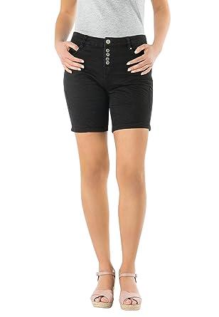 72f6bdb421b64b Eight2Nine Damen Stretch-Twill Bermuda Shorts | Kurze Hose mit Aufschlag in  Schwarz, Weiß