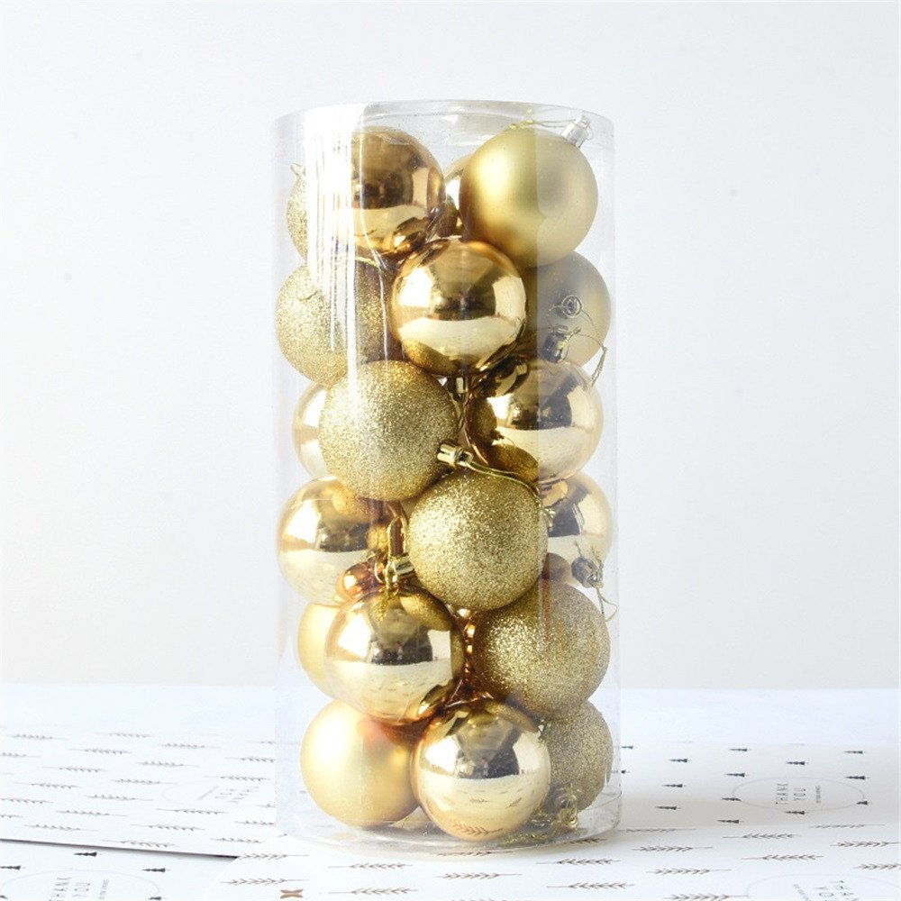 FLAMINGO_STORE Christmas Ball Ornament Shiny and Polshed Glossy Christmas Tree Ball Ornaments Decorations 1.5''24pcs Shiny and Polshed Glossy Christmas Tree Ball Ornaments Decorations 1.5'' Gold