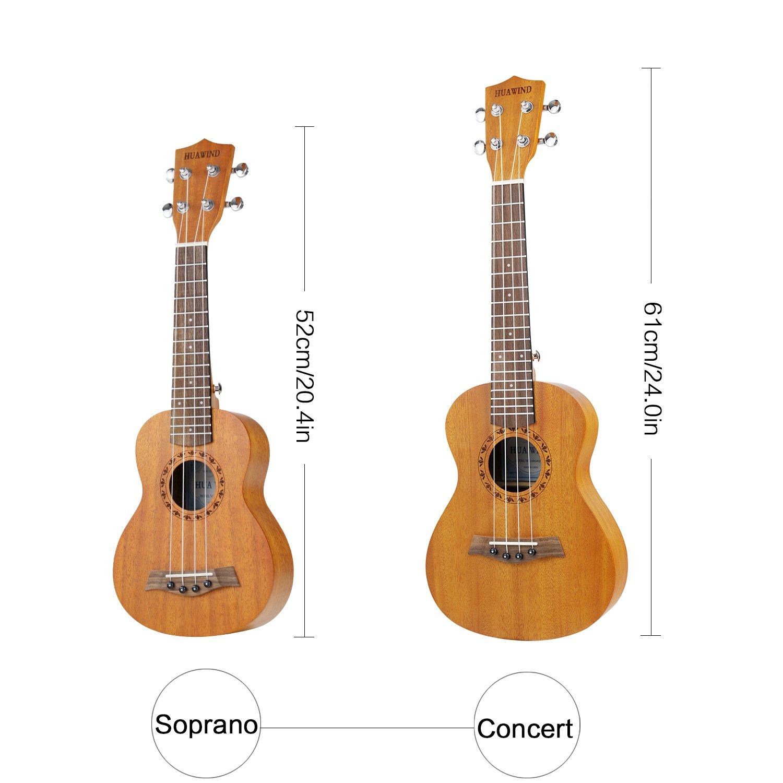 Concierto Ukulele de 23 Pulgadas Para Principiantes, Paquete de Correa, Templador, Estuche, Color Natural: Amazon.es: Instrumentos musicales