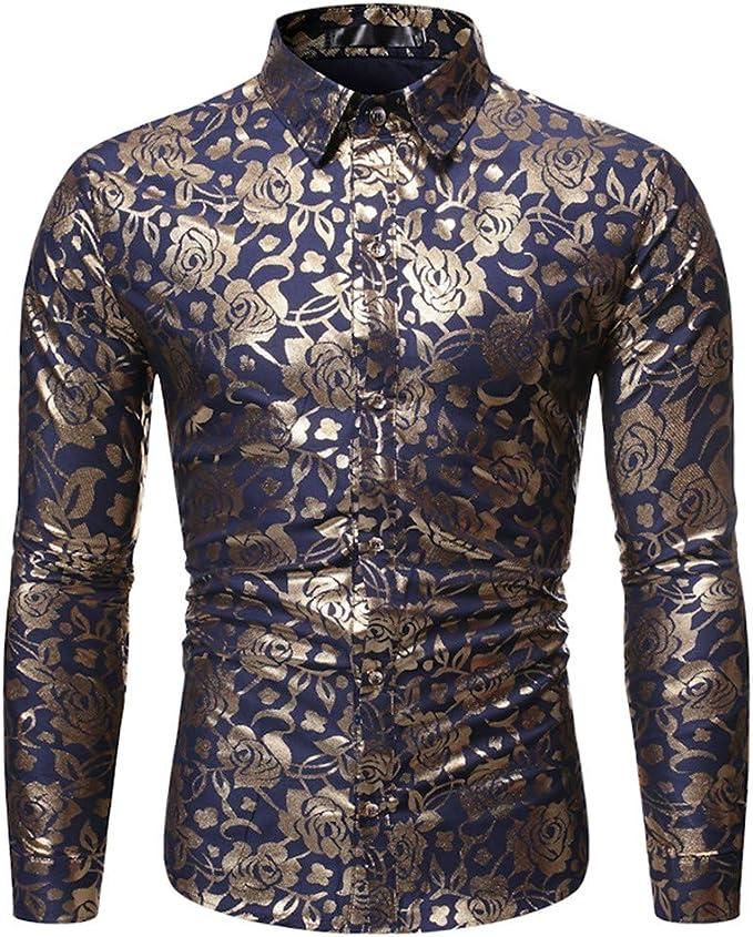 Tipo B Hombres Camisas Grandes Moda Impresa Manga Larga Camisa Moda Blusa: Amazon.es: Ropa y accesorios