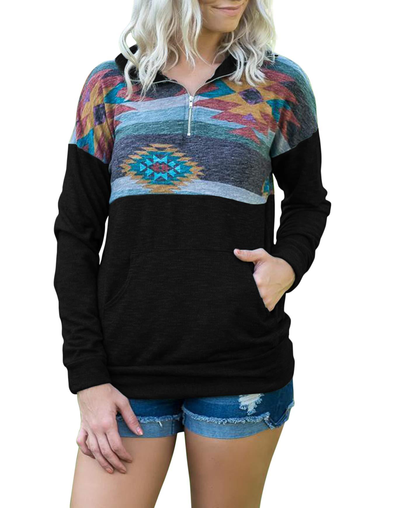 TECREW Women's 1/4 Zip Floral Printed Long Sleeve Pullover Sweatshirt Jacket Tops with Pocket