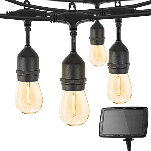 Outdoor Solar String Lights 34 Ft Vintage S14 Hanging Patio Light