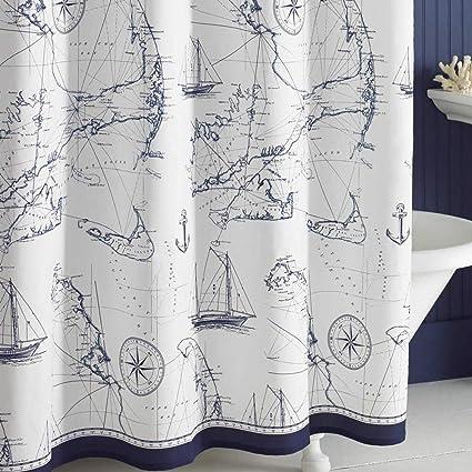 DS BATH Aviation Nautical Shower CurtainsMildew Resistant Fabric CurtainNavy Curtains