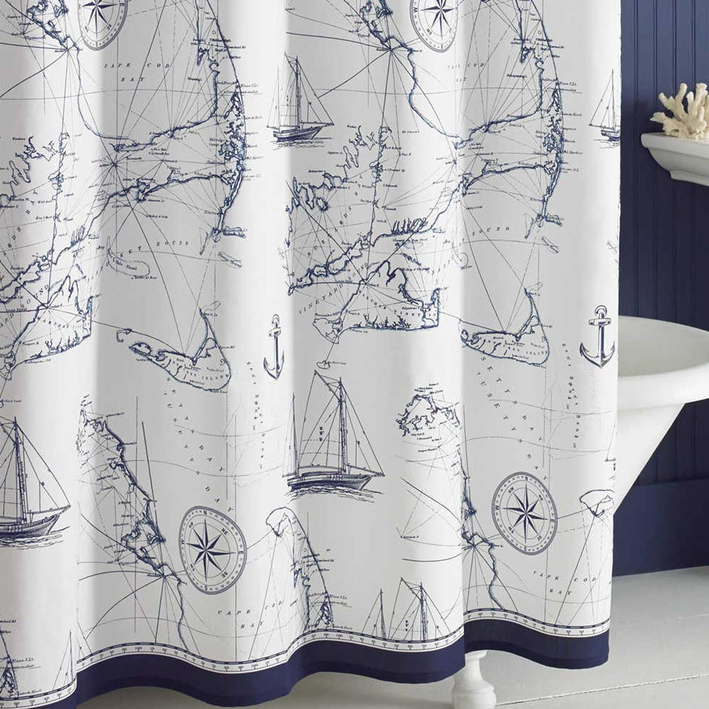DS BATH Aviation Nautical Shower Curtains,Mildew Resistant Fabric Shower Curtain,Navy Shower Curtains for Bathroom,Print Bathroom Curtains,Waterproof Decorative Bath Curtains,78'' W x 72'' H