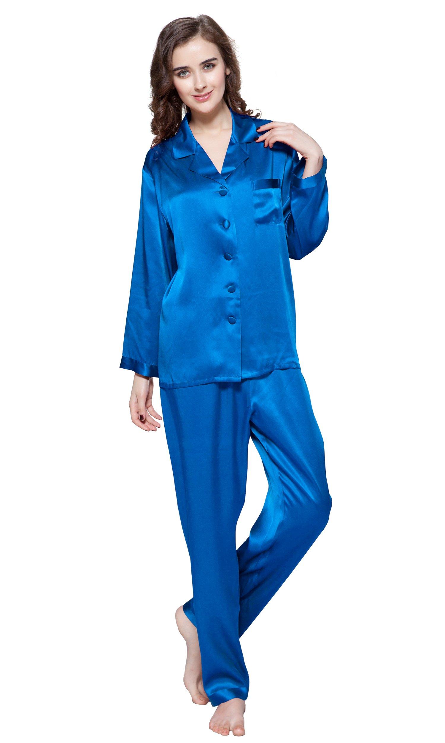 LilySilk Women Silk Pajamas Full Length Long 22 Momme 100% Mulberry Silk (8-10/Medium, Diamond Blue)