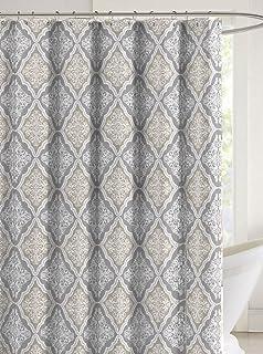 Katia Decorative Fabric Shower Curtain Floral Geometric Damask Design Gray Taupe White 70