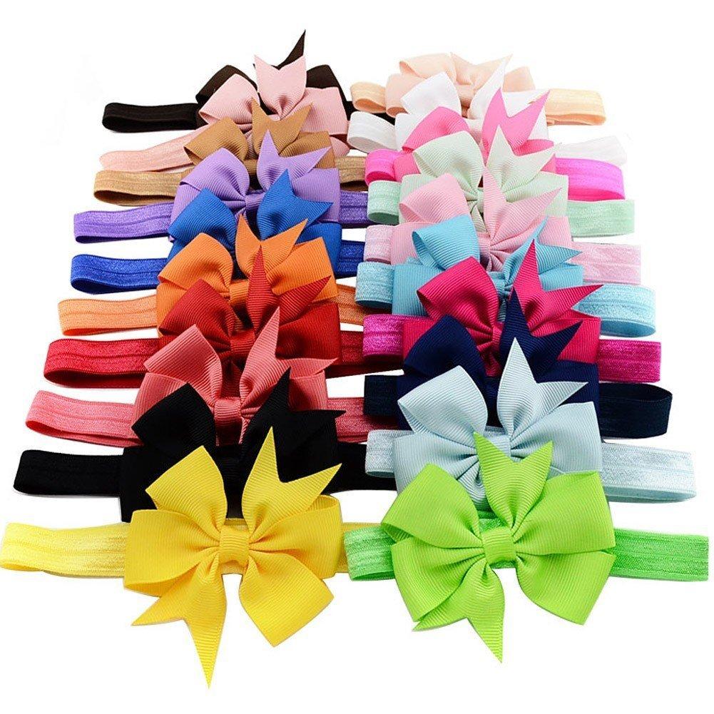 iEFiEL 20pcs Infant Baby Girls Elastic Grosgrain Ribbon Bowknot Hair Bow Headband Princess Hairband 10016562