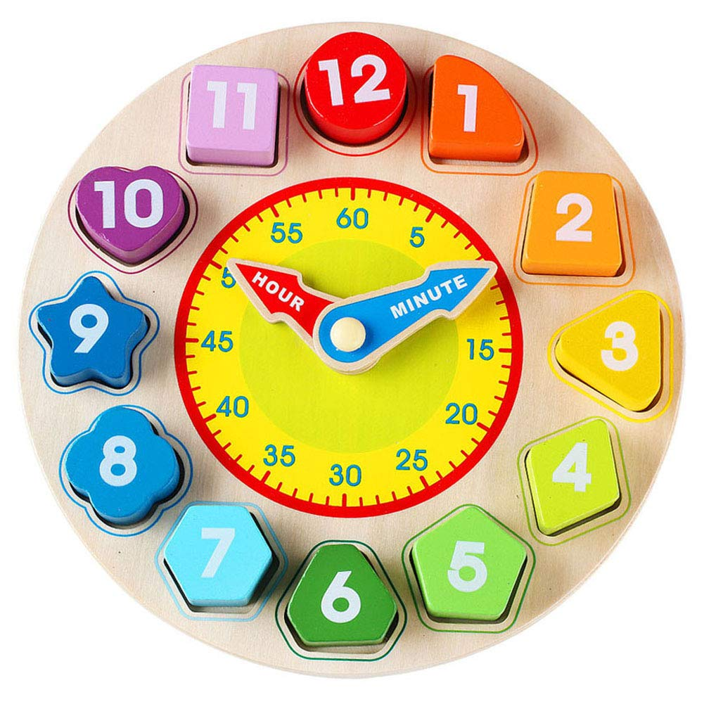 Wondertoys Wooden Shape Sorting Clock Toddlers Gifts Educational Toy for 1 2 3 Years Old Boy and Girl
