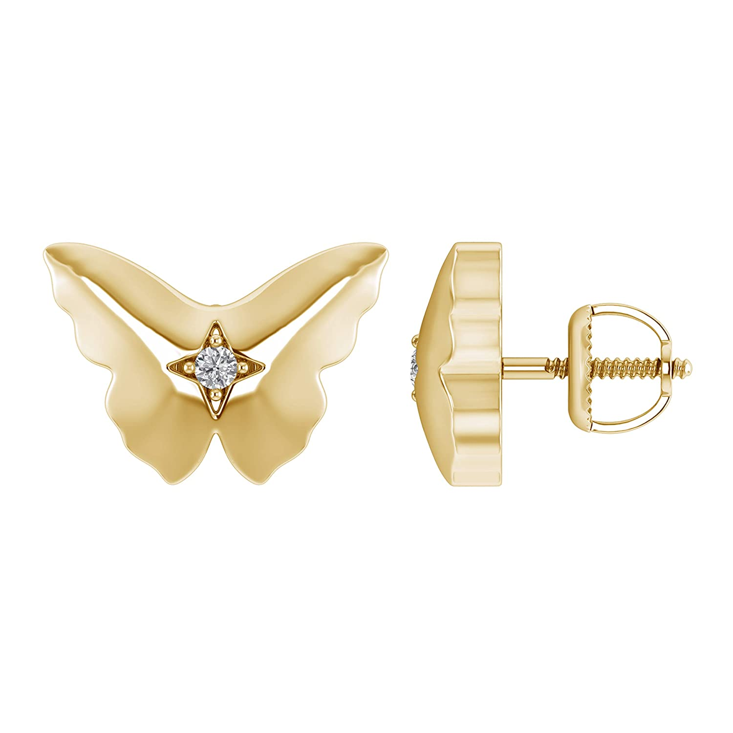 I1-I2//G-H 925 Sterling Silver Flying Butterfly Stud Earrings With Screw Back 0.05 Ct Natural Diamond